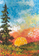 ACEO impressionist landscape trees sunset sunrise original painting by MOTYL