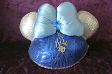 Used Disneyland Diamond 60th Anniversary D60 Blue Silver Sequins Charms Ear Hat