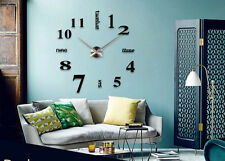 Large Number DIY Wall Clock Decal Frameless 3D Art Stickers Home Decor Black