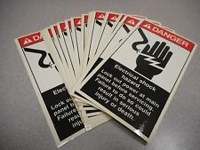 SAFETY LAB SUPPLY DANGER SAFETY LABEL ELECTRIC SHOCK HAZARD VINYL (LOT OF 20)