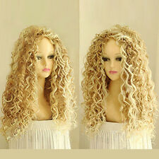 Women's Long Blonde Curly Wavy Full Wig Natural Hair Cosplay Party Club Grace