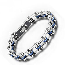 Ladis Men Stainless Steel Motorcycle Chain design Shiny Blue Crystals  Bracelet