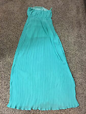 NWT Womens ya Los Angeles Aqua Blue Tube Silk Blend Maxi Dress Celebrate Style L