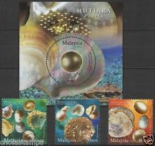 Malaysia 2015 Pearls MS + 3v MNH, embossed, glitter foil, odd, unusual, round