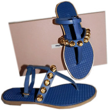 $720 Miu Miu - PRADA Blue Gladiator Studded Flat Sandals 36 shoes 6 Thongs