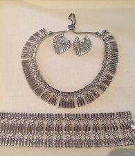 VTG MONET RARE COUTURE EGYPTIAN WIDE RUNWAY NECKLACE BRACELET EARRINGS BOOK PC