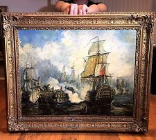 Fine Original Antique 18th Century British OLD MASTER OIL PAINTING Battle Scene
