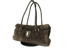 Authentic PRADA Suede Leather Dark Brown Shoulder Bag P12293L