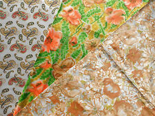 Lot of 4.5 YDS Vintage Satin Fabric Orange POPPIES Paisley Cream Brown Floral