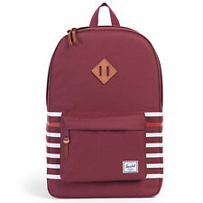 HERSCHEL SUPPLY CO. Windsor Wine Offset Stripe / Tan Leather HERITAGE BACKPACK