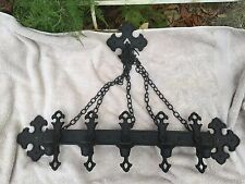 Vintage 1972 Gothic Medieval Wall Sconce 5 Candle Chain Metal Spanish Revival