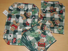 Set of 6 Teddy Bear Christmas Placemats, 6 Cotton Napkins & Table Cloth ~ NWT