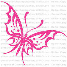Gothic Butterfly Vinyl Decal Auto Tattoo Filigree Sticker Curly Car Vehicle