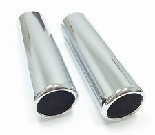 """2 Chrome Pencil Tip Exhaust Tips 2.5"""" Inlet X 2.25"""" Outlet 9"""" Length JPT212"""