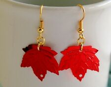 FABULOUS HANDMADE BRIGHT RED LEAF SEQUIN DROP/DANGLE PARTY EARRINGS BRAND NEW