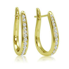 1/4ct Diamond Hoop Earrings in 10K Yellow Gold