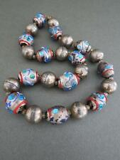 Vintage Murano Venetian Silver Plated Beads Wedding Cake Glass Necklace