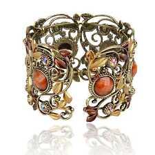 Excellent Vintage Hollow Resin Rhinestone Gem Bronze Carved Cuff Bangle Bracelet
