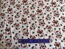 CHRISTMAS GIFT TAGS HOLLY BERRY SPRIGS GIFTS on COTTON FABRIC Sold By The YARD