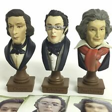 Historical Mini Bust Figures Classical Composers Chopin Schubert Beethoven Set