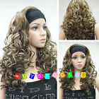New Lady girl brown blonde mixed curly short cosplay full wigs/Free wig cap