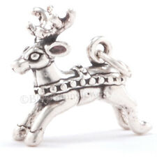 3D REINDEER Christmas Rudolph Deer Charm Pendant in 925 Sterling Silver Detailed