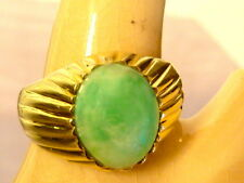 VINTAGE SOLID 14K YELLOW GOLD NATURAL COLOR  FINE JADEITE JADE RING SIZE 8.75
