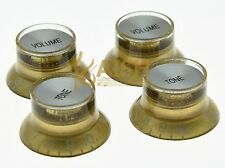 4x LP Guitar Reflector Knobs Gold/Silver Top Hat Knobs fits Epiphone Les Paul SG