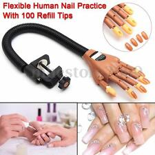Flexible Human Nail Practice Trainer Hand w/Stand + Finger Refit 100 Refill Tips