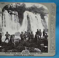 WW1 Stereoview British Troops Refresh Themselves At Waterfall Realistic Travels