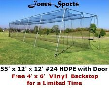 12' x 12' x 55' #24 HDPE (42PLY) with Door Baseball Softball Batting Cage net