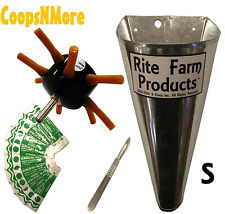 *COMBO* S8 RITE FARM DRILL CHICKEN PLUCKER SMALL KILL CONE 10 BLADES & SCALPEL