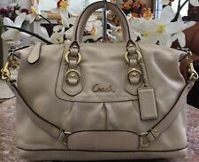 COACH Ashley F15445 Ivory Leather Convertible Satchel Shoulder Handbag Purse EUC