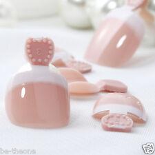 24pcs French False Pro Toe Nail Tips DIY Pre-design Hit Color HY-TN-4078