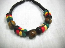 BLACK MACRAME RASTA COLORS WOOD BEADS RED GREEN YELLOW TIE ON ANKLET OR BRACELET