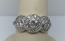 14K WHITE GOLD BEZEL SET EUROPEAN CUT DIAMOND HALO 1.25CT RING SI2, I SIZE 7.25