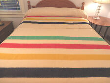 Vtg Hudson's Bay Co. 4 Point WOOL Ivory Multi Stripe Blanket England 84X66 Camp