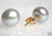 Rare 7-8mm real Freshwater Silver-gray Pearl Earrings Stud