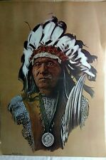 Chief He-Dog Sioux 1976 Litho art print Hans P Luetcke orig Portal Publications
