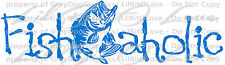 Fishaholic Vinyl Decal with Bass Fish in the Center Sticker Fishing Fisherman