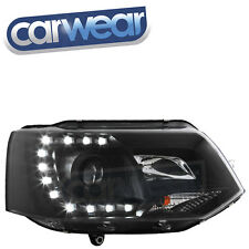 BLACK C SHAPE LED DRL PROJECTOR HEADLIGHT - VOLKSWAGEN T5 10-UP R87 TRANSPORTER