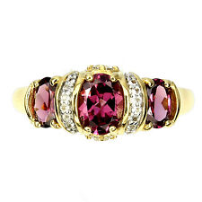 Sterling silver 925 Gold Plated Rhodolite  & White Topaz Ring Size T.5 US 10