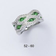 Dolly-Bijoux Alliance Rhodié ZigZag T56 Emeraude et Diamant Cz Argent Massif 925
