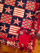 Handmade FLEECE TIE-BLANKET Stars And Stripes American Flag 58X72 -2 layers