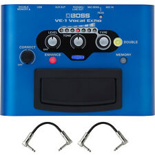 Boss VE-1 Vocal Echo Batter-Powered Pedal Stompbox Footswitch + Patch Cables