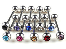 10pc Lots Mixed Logo Ball Tongue Bars Rings Barbell Piercing Stainless Steels