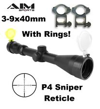 AIM Sports 3-9x40 Tactical Riflescope P4 Sniper Reticle NEW Scope Fast Shipping