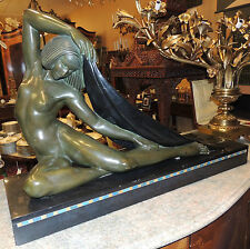 Large French Art Deco reclining nude female figure Bronze by Raymonde Guerbe