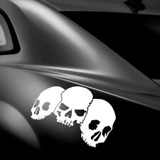 2x Skull Schädel Totenkopf Cartattoo Heckscheibe Seiten Sticker Aufkleber 45cm