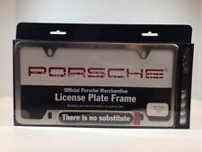 """Porsche License Plate Frame """"There is No Substitute"""" Logo Script Brushed Genuine"""